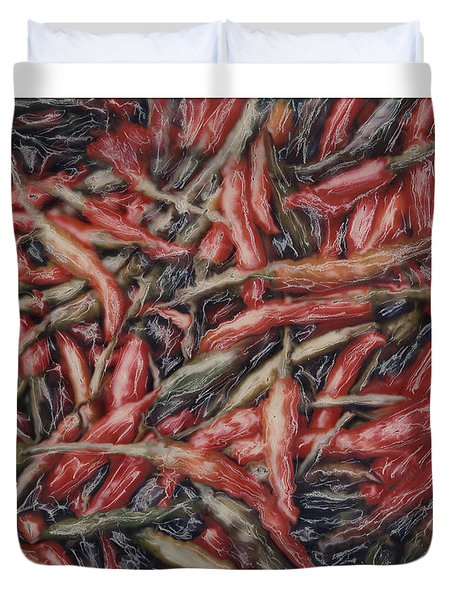 Altered Polaroid - Chile Peppers Duvet Cover by Wally Hampton