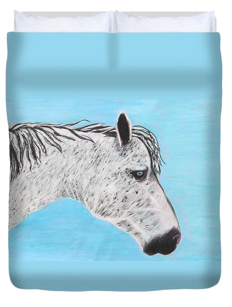 Duvet Cover featuring the painting Alvaro Stallion by Jeanne Fischer