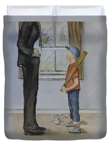 Duvet Cover featuring the painting Am I In Trouble Dad... Broken Window by Kelly Mills