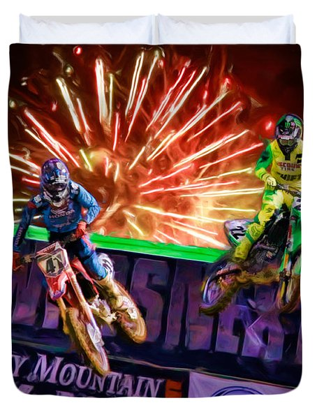 Ama 450sx Supercross Trey Canard Leads Chad Reed Duvet Cover