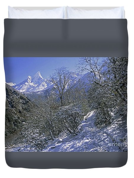 Ama Dablam In Winter Duvet Cover by Rudi Prott