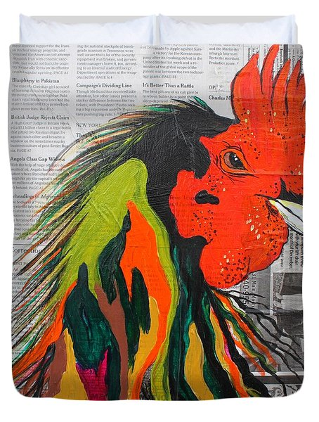 Duvet Cover featuring the painting Amadeo The Tuscan Rooster by Janice Rae Pariza