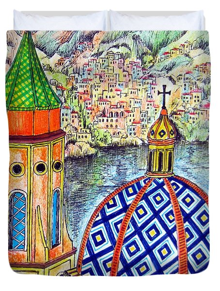 Duvet Cover featuring the painting Amalfi And Positano Coast  by Roberto Gagliardi