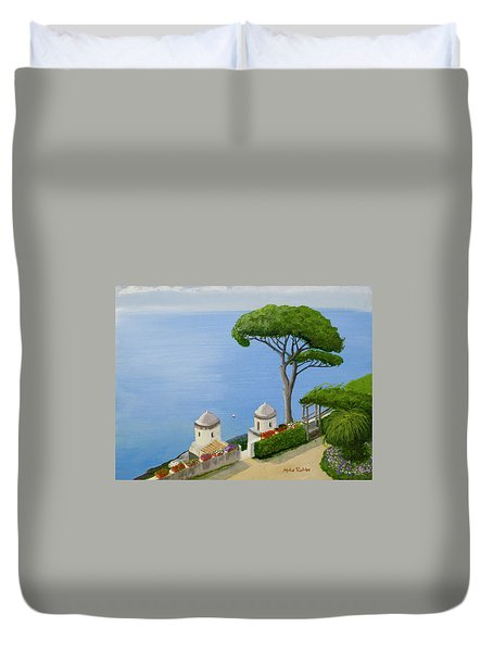 Amalfi Coast From Ravello Duvet Cover by Mike Robles