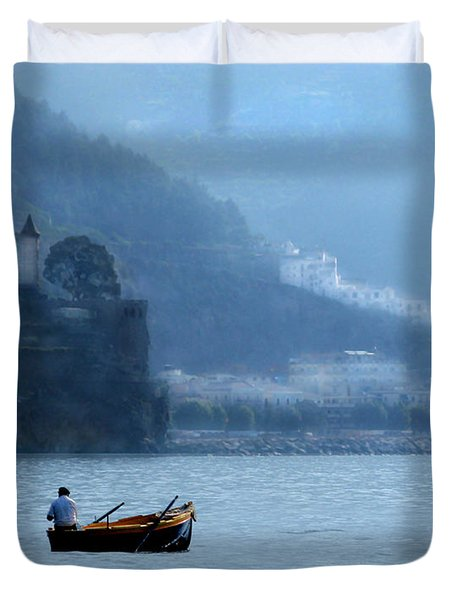 Duvet Cover featuring the photograph Amalfi To Capri. Italy by Jennie Breeze