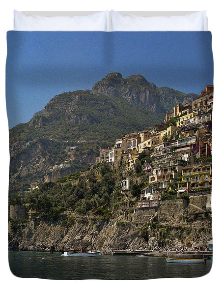 Duvet Cover featuring the photograph Amalfi View by Andrew Soundarajan