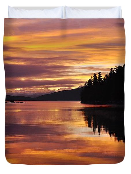 Amalga Harbor Sunset Duvet Cover by Cathy Mahnke