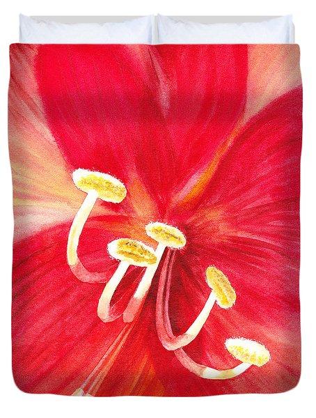 Amaryllis Flower Duvet Cover by Irina Sztukowski