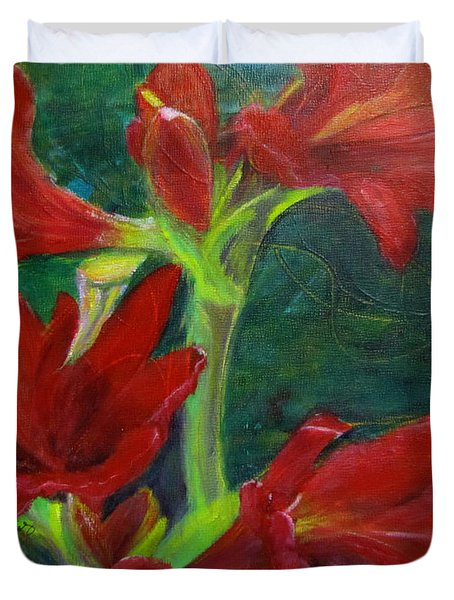 Duvet Cover featuring the painting Amaryllis by Linda Feinberg