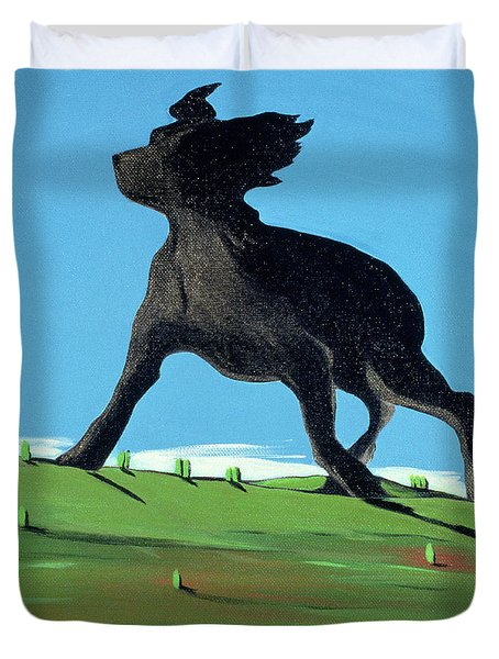 Amazing Black Dog, 2000 Duvet Cover by Marjorie Weiss