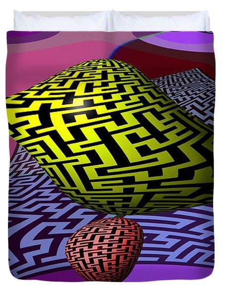 Mandelbrot Maze Duvet Cover