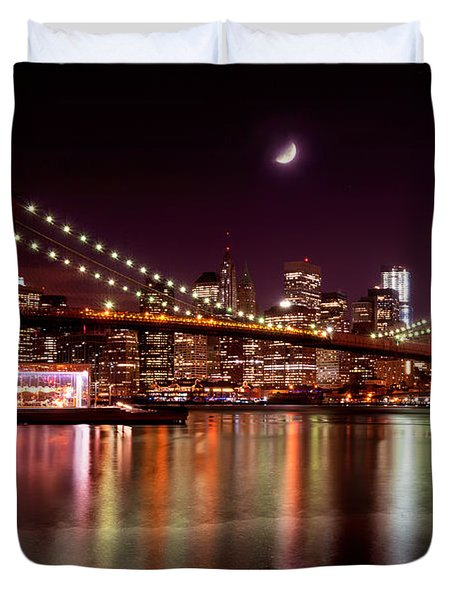 Duvet Cover featuring the photograph Amazing New York Skyline And Brooklyn Bridge With Moon Rising by Mitchell R Grosky