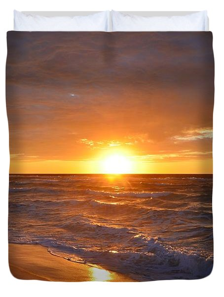 Amazing Sunrise Colors And Waves On Navarre Beach Duvet Cover by Jeff at JSJ Photography