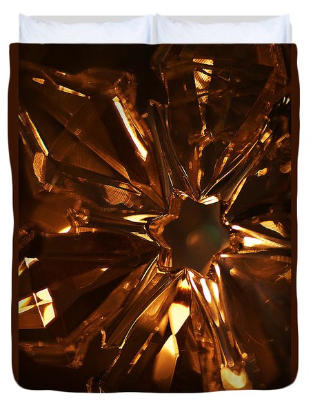 Amber Crystal Snowflake Duvet Cover by Linda Shafer