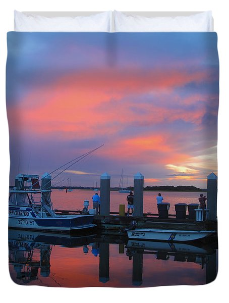 Duvet Cover featuring the photograph Amelia's Marina by Paula Porterfield-Izzo