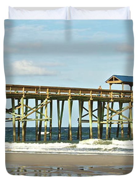 Duvet Cover featuring the photograph Amelia's Pier by Paula Porterfield-Izzo