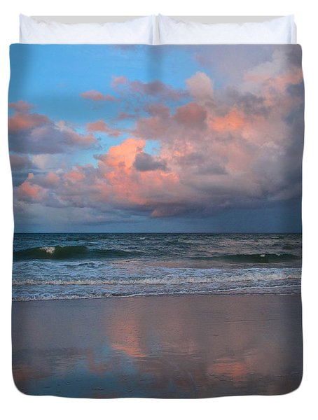 Duvet Cover featuring the photograph Amelia's Sunset by Paula Porterfield-Izzo