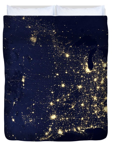 America At Night Duvet Cover by Adam Romanowicz