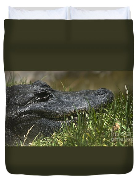 Duvet Cover featuring the photograph American Alligator Closeup by David Millenheft
