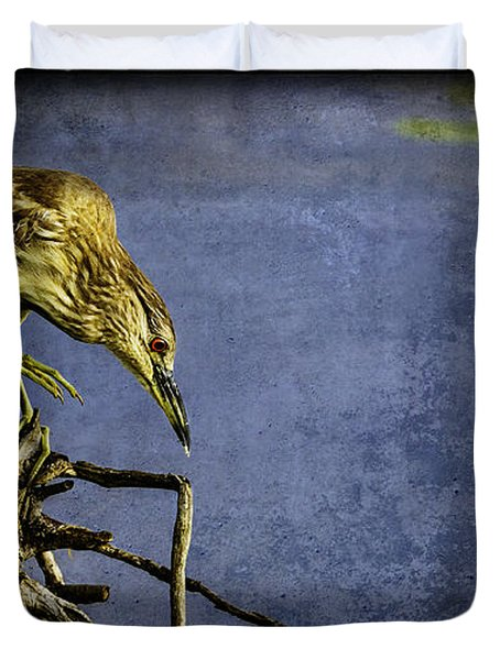 American Bittern With Brush Calligraphy Lingering Mind Duvet Cover