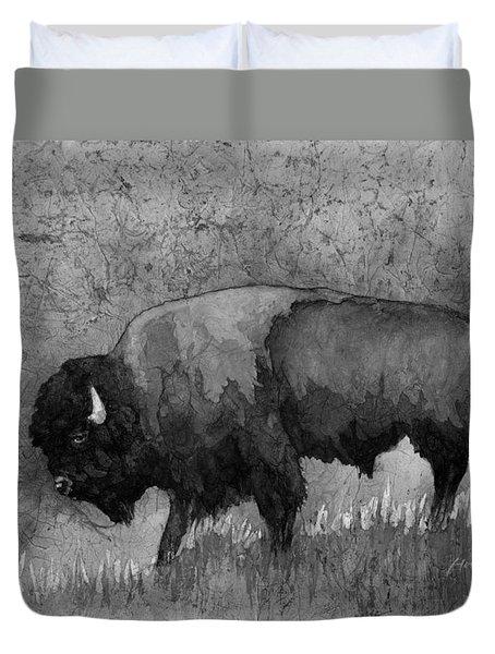 Monochrome American Buffalo 3  Duvet Cover