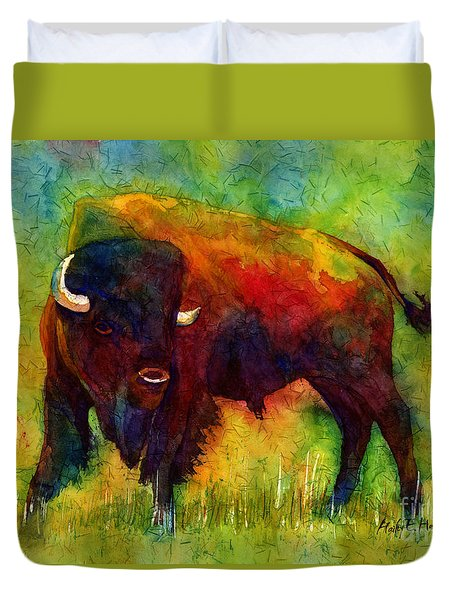 Duvet Cover featuring the painting American Buffalo by Hailey E Herrera