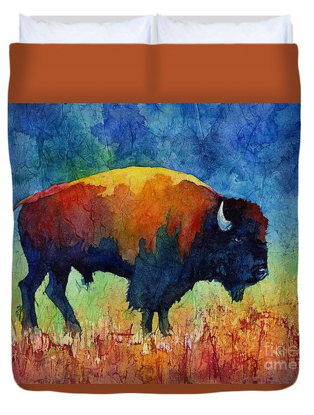 Duvet Cover featuring the painting American Buffalo II by Hailey E Herrera