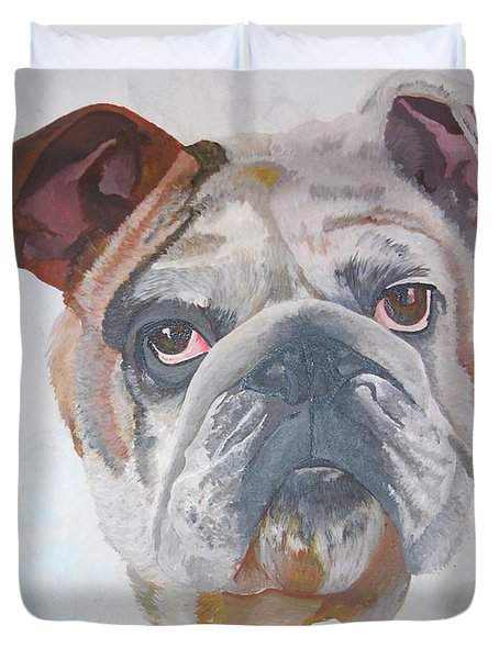 Duvet Cover featuring the painting American Bulldog Pet Portrait by Tracey Harrington-Simpson