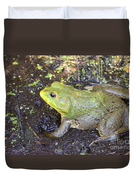Duvet Cover featuring the photograph American Bullfrog by Kathy Gibbons