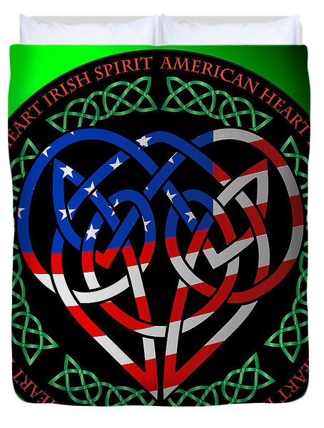 Duvet Cover featuring the digital art American Celtic Heart by Ireland Calling