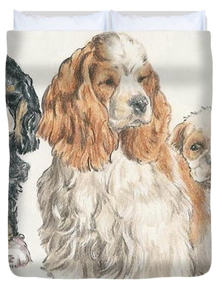 American Cocker Spaniel Puppies Duvet Cover