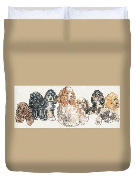 American Cocker Spaniel Puppies Duvet Cover