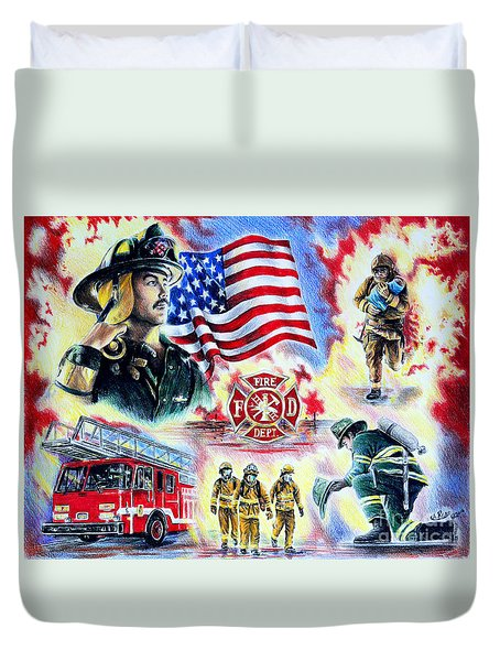 American Firefighters Duvet Cover