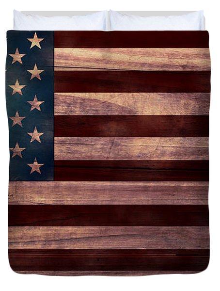American Flag I Duvet Cover by April Moen