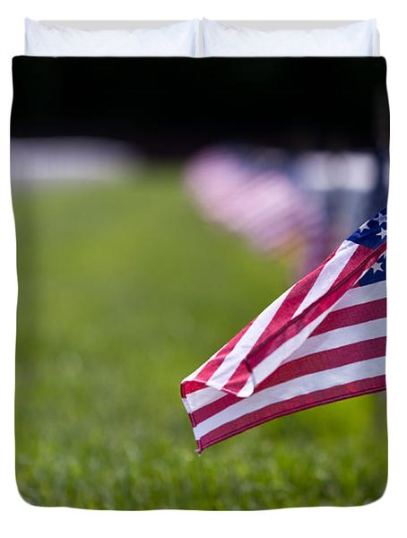 Duvet Cover featuring the photograph American Flag by Jerry Gammon