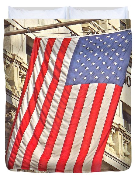 Duvet Cover featuring the photograph American Flag N.y.c 1 by Joan Reese