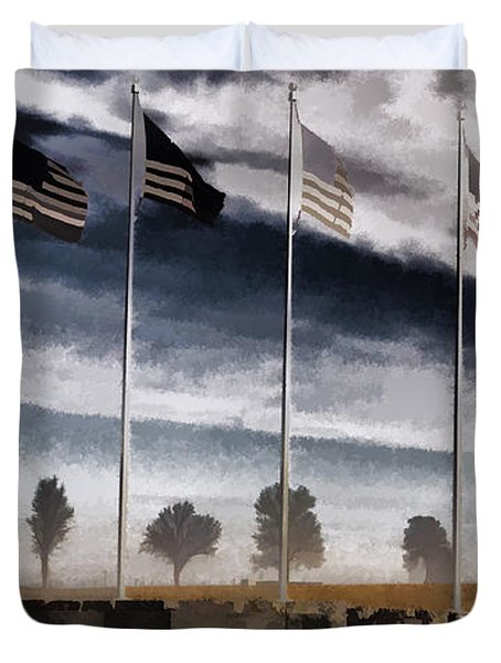 American Flag Still Standing Duvet Cover by Luther   Fine Art