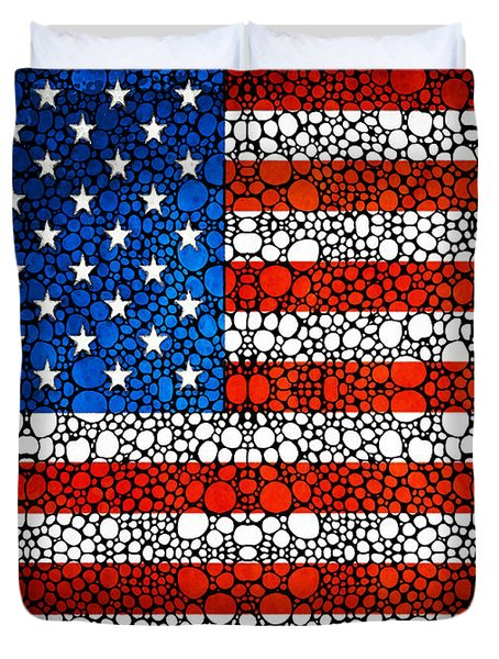 American Flag - Usa Stone Rock'd Art United States Of America Duvet Cover by Sharon Cummings