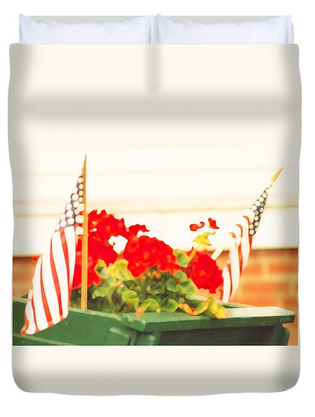 American Flags And Geraniums In A Wheelbarrow In Maine, One Duvet Cover