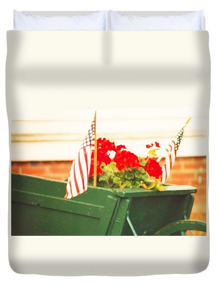 American Flags And Geraniums In A Wheelbarrow In Maine, Two Duvet Cover