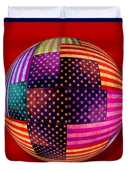American Flags Orb Duvet Cover by Tony Rubino