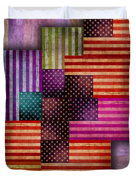 American Flags Duvet Cover by Tony Rubino