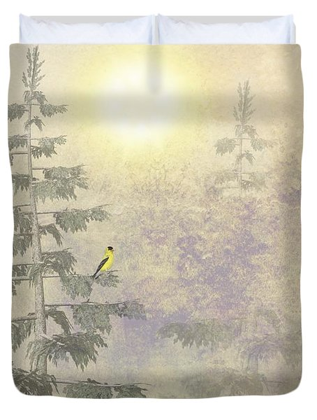 American Goldfinch Morning Mist  Duvet Cover