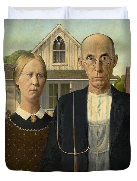 Duvet Cover featuring the photograph American Gothic by Grant Wood