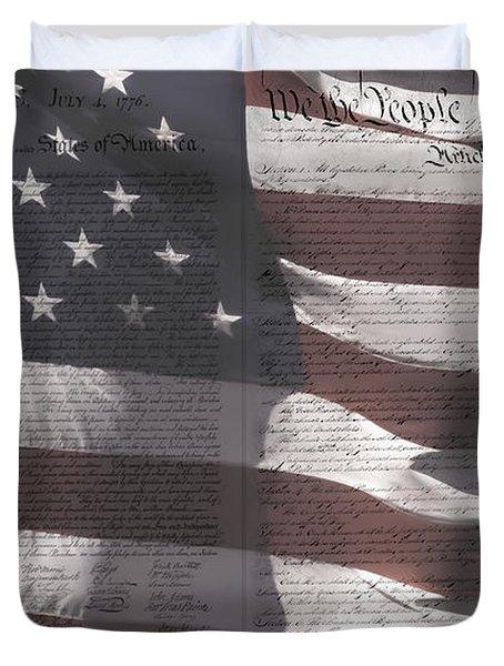 Historical Documents On Us Flag Duvet Cover