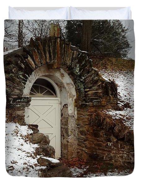 Duvet Cover featuring the photograph American Hobbit Hole by Michael Porchik