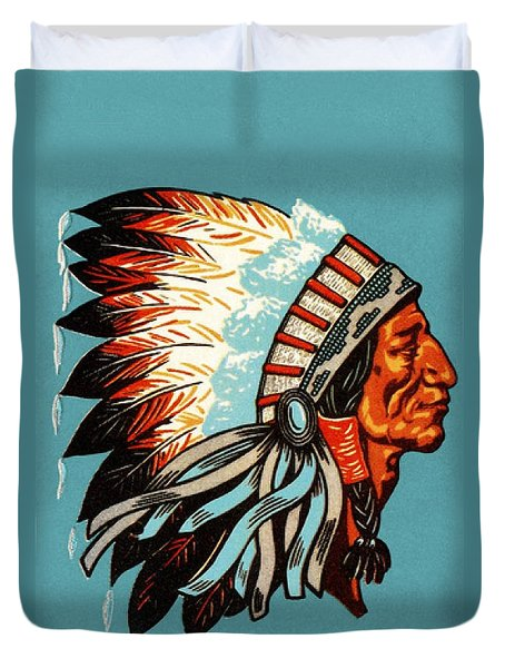 American Indian Chief Profile Duvet Cover