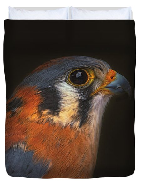 Duvet Cover featuring the photograph American Kestrel  by Brian Cross