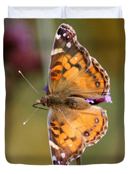 American Lady Butterfly Duvet Cover by Karen Adams