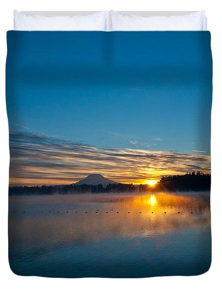 American Lake Sunrise Duvet Cover by Tikvah's Hope